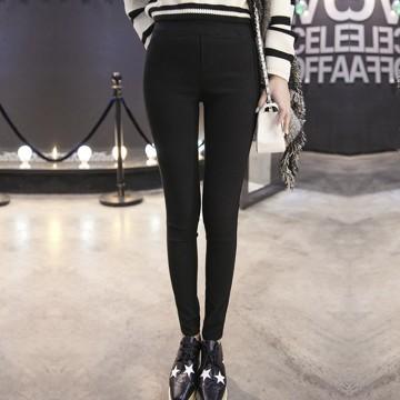 TE163LLJ Joker elastic waist pure color slim pants
