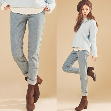 TE1745KOKO Korean style empire waist washing pencil jeans