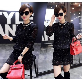 TE1806FLS Spring new style A-line dot chiffon dress