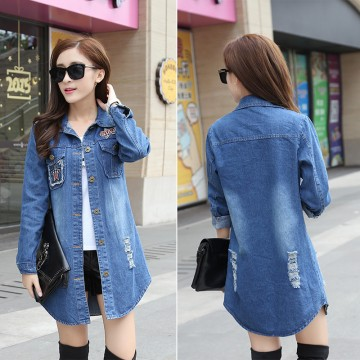 TE1810DPHM Spring new style casual long denim shirt