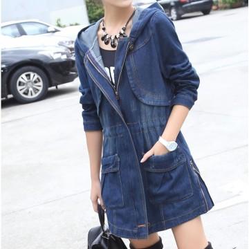 TE1811DPHM Europe fashion print new style long denim coat with cap