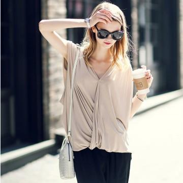 TE2172ALFS Europe fashion sexy double v-neck loose sleeveless t-shirt