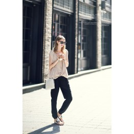 TE2172ALFS Europe fashion sexy double v-neck loose sleeveless t-shirt