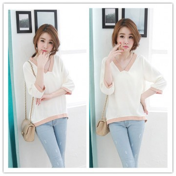 TE2187ALFS New style v neck color matching irregular tops