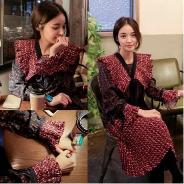 TE2598JYYS Mixing color shawl collar temperament splicing dress