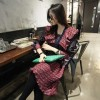 TE2598JYYS Mixing color shawl collar temperament splicing dress