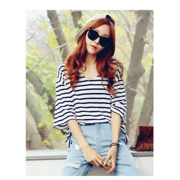 TE2713XYD New style batwing sleeve loose large size v neck stripes t-shirt