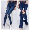 TE3009AQNK Spring new style spandex knee hole pencil jeans