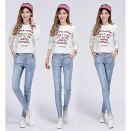 TE3010AQNK Classic vintage color empire waist buttons pencil jeans