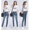 TE3010AQNK Classic vintage color empire waist buttons pencil jeans