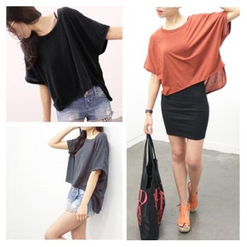 TE3011YZS Pure color loose batwing sleeve irregular joker t-shirt