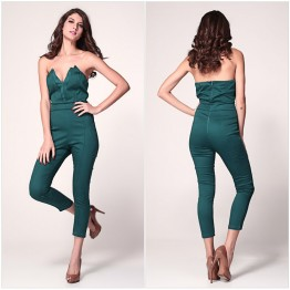 TE305JKFS Europe fashion sleeveless v neck tube top slim casual jumpsuit