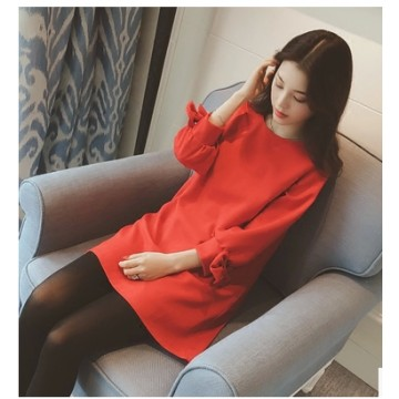 TE5062LXY Round neck pure color bowknot sleeve dress