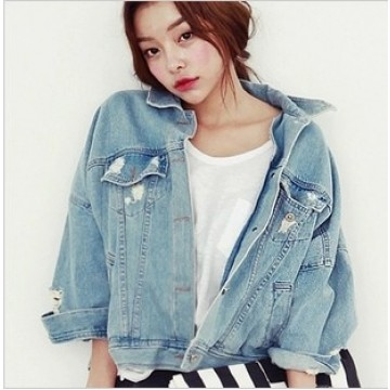 TE5206VVN Trendy vintage make it old loose denim jacket