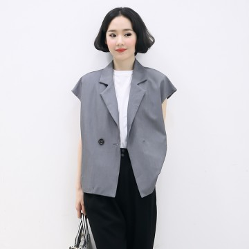 TE5219UGLY Europe fashion lapel pure color slim vest coat