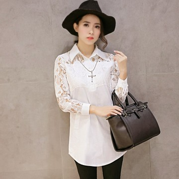 TE5260YJY New style lace splicing long sleeve white shirt