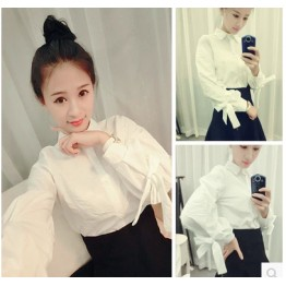 TE5608BGFS Korean fashion sweet bowknot puff sleeve white blouse
