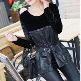 TE575LLJ New style velvet splicing leather slim waist tops