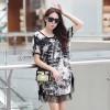 TE6006AYY Ink printing loose large size tassel hem maternity dress