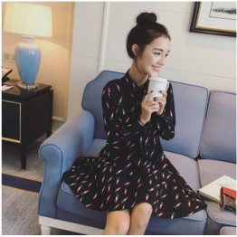 TE6081FCY Lacing collar lipstick print empire waist dress