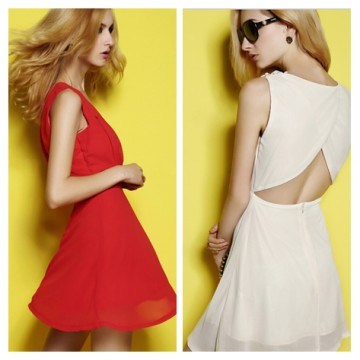 TE6161YZS Summer candy color fresh backless slim sleeveless A-line dress
