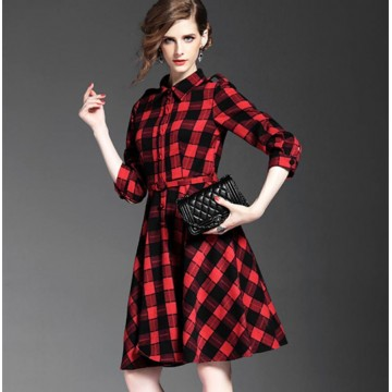 TE6162VIP Europe fashion temperament checks slim waist dress