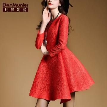 TE6254VIP Spring fashion three quarter sleeve A-line formal dress