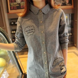 TE6266MQZ Japanese preppy style embroidery check sleeve shirt