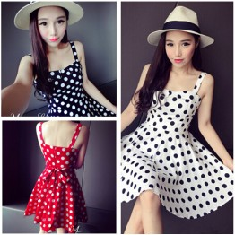 TE6291YZL Fresh sweet slim waist empire waist dot lacing dress