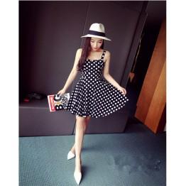 TE6291YZL Fresh sweet slim waist empire waist dot lacing dress