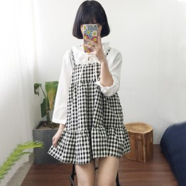 TE6310YZMY Preppy style England checks gallus vest dress