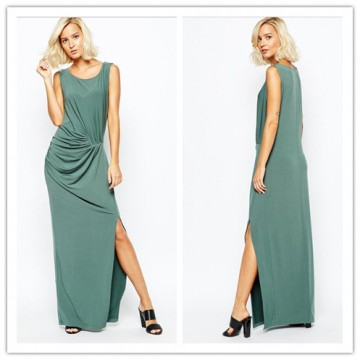 TE6356YZS Europe fashion sexy slashed up drape sleeveless maxi dress