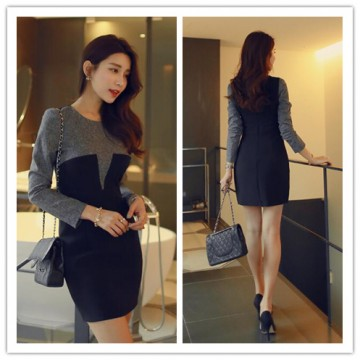 TE6358YZS Korean fashion color matching OL temperament dress