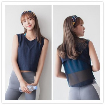TE6365YZS Summer fashion transparent back sleeveless short t-shirt