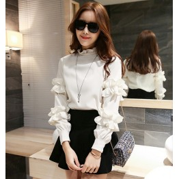 TE6539SPX Flouncing ornament neckline and sleeve pullover shirt