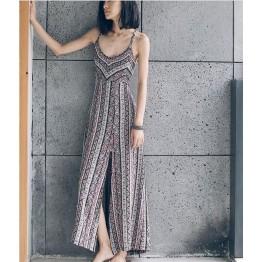 TE6587XCZY Designer bohemia print beach maxi dress