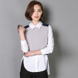 TE6613YMSQ Korean style doll collar splicing slim fake two piece shirt