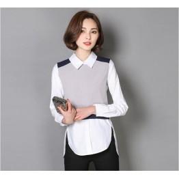 TE6613YMSQ Korean style doll collar splicing slim fake two piece shirt