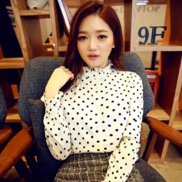 TE6618JZFS Spring new style dot fresh long sleeve chiffon shirt