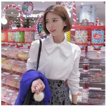 TE6619JZFS Korean fashion sweet bowknot joker shirt