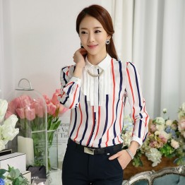 TE6693SOLO Spring style POLO collar vertical stripes chiffon shirt