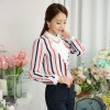 TE6693SOLO Spring style POLO collar vertical stripes chiffon shirt