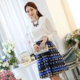 TE6699SOLO Spring style round neck dot long sleeve chiffon shirt