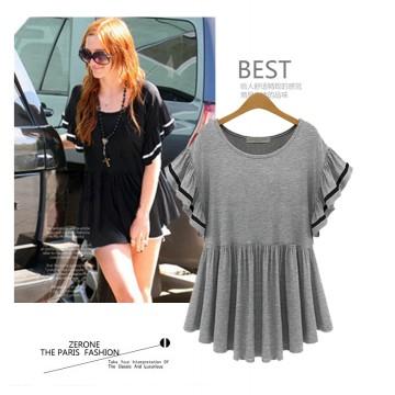 TE6802YWQS European fashion flouncing short sleeve skirt hem loose t-shirt