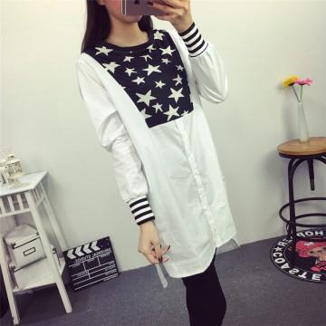 TE6803AYY New style stars print irregular long blouse