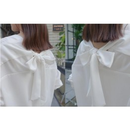 TE6803YWQS Trendy loose bowknot two side wear v neck white shirt