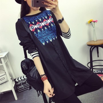 TE6805AYY Vintage splicing pattern casual loose shirt dress