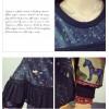 TE6808AYY Casual Indian print splicing slim dress