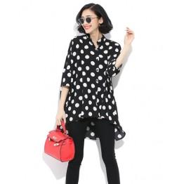 TE6809AYY Korean fashion large size loose dot blouse