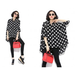TE6809AYY Korean fashion large size loose dot blouse